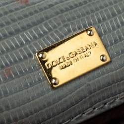 Dolce & Gabbana Avocado Green Lizard Embossed Leather Small Miss Sicily Top Handle Bag