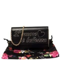 Dolce & Gabbana Black Leather L'amore e' Bellezza Shoulder Bag