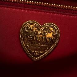 Dolce & Gabbana Red Leather Devotion Chain Shoulder Bag