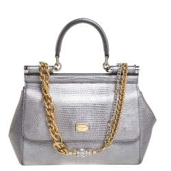 Dolce & Gabbana Silver Lizard Embossed Leather Small Miss Sicily Top Handle Bag