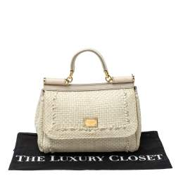 Dolce & Gabbana Ivory White Woven Leather Medium  Miss Sicily Top Handle Bag