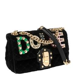 Dolce & Gabbana Black Quilted Velvet Lucia Embellished Shoulder Bag