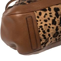 Dolce & Gabbana Brown Leopard Print Canvas and Leather Animalier Zip Satchel