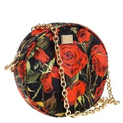 Dolce & Gabbana Floral Print Fabric Miss Glam Round Shoulder Bag