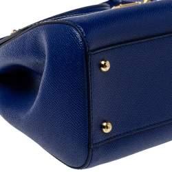 Dolce & Gabbana Blue Leather Medium Miss Sicily Top Handle Bag
