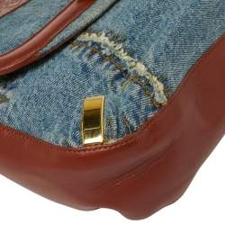 Dolce & Gabbana Blue/Brown Leather and Denim Buckle Detail Satchel Bag