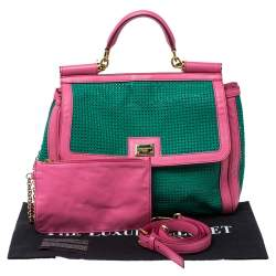 Dolce & Gabbana Pink/Green PVC Mesh and Leather Large Miss Sicily Top Handle Bag