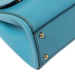 Dolce & Gabbana Baby Blue Leather Medium Miss Sicily Top Handle Bag