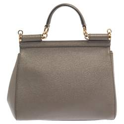 Dolce & Gabbana Grey Leather Medium Miss Sicily Top Handle Bag