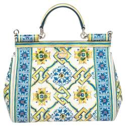 Dolce & Gabbana Multicolor Majolica Print Leather Medium Miss Sicily Top Handle Bag