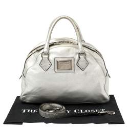 Dolce & Gabbana Silver Leather Miss Biz Satchel