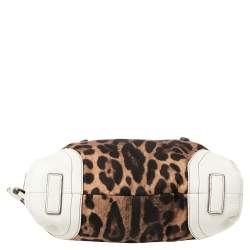 Dolce & Gabbana White/Brown Animal Print Fabric and Leather Satchel