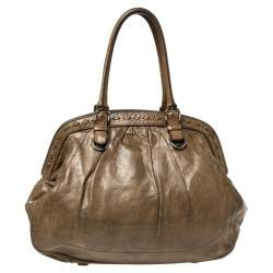 Dolce & Gabbana Brown Leather Miss Romantique Frame Satchel