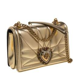 Dolce & Gabbana Metallic Gold Leather Mini Devotion Chain Shoulder Bag