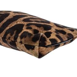 Dolce & Gabbana Brown Leopard print Canvas and Patent Leather Pouch