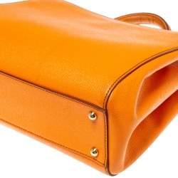 Dolce & Gabbana Orange Dauphine Leather Sicily Shopper Tote
