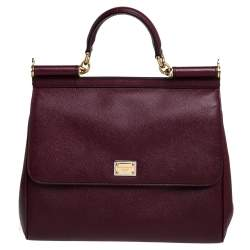 Dolce & Gabbana Wine Red Leather Large Sicily Top Handle Bag