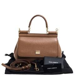 Dolce & Gabbana Brown Leather Small Miss Sicily Top Handle Bag