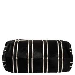 Dolce and Gabbana Black/Silver Stripe Calfhair and Snakeskin XL Miss Sicily Top Handle Bag