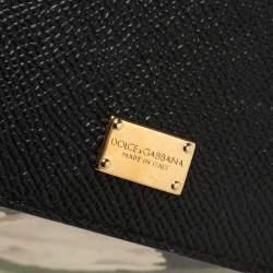 Dolce & Gabbana Black Tulip Print Leather Medium Miss Sicily Top Handle Bag