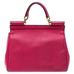Dolce & Gabbana Fuchsia Leather Medium Miss Sicily Top Handle Bag