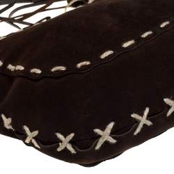 Dolce & Gabbana Brown Suede and Leather Whipstitch Hobo