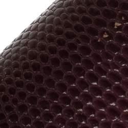 Dolce & Gabbana Burgundy Lizard Embossed Leather Medium Miss Monica Top Handle Bag
