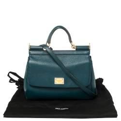 Dolce & Gabbana Green Leather Medium Miss Sicily Top Handle Bag