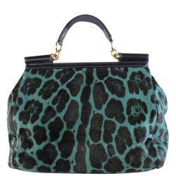 Dolce and Gabbana Green Pony Hair Leopard Sicily Top Handle Bag