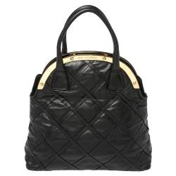 Dolce & Gabbana Black Leather Miss Camp Satchel
