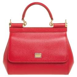 Dolce & Gabbana Red Leather Small Miss Sicily Top Handle Bag