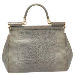 Dolce & Gabbana Avocado Green Lizard Embossed Leather Medium Miss Sicily Bag