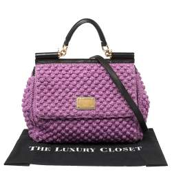 Dolce & Gabbana Purple/Black Woven Raffia and Leather Large Miss Sicily Top Handle Bag