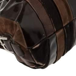 Dolce & Gabbana Dark Brown Leather Miss Brunette Mixed Media Satchel
