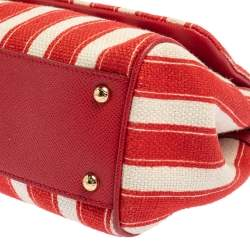 Dolce & Gabbana Red/White Stripe Raffia and Leather Medium Miss Sicily Top Handle Bag