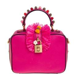Dolce & Gabbana Pink Leather Dolce Box Ruffle Details Top Handle Bag