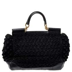 Dolce & Gabbana Black Crochet Fabric and Python Large Miss Sicily Top Handle Bag