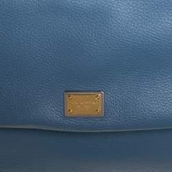 Dolce & Gabbana Blue Leather Large Sicily Top Handle Bag
