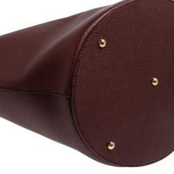 Dolce & Gabbana Burgundy Grained Leather Shopper Tote