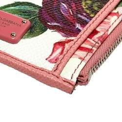 Dolce & Gabbana Pink Floral Print Zipped Card Holder