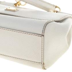 Dolce & Gabbana White Leather Small Miss Sicily Top Handle Bag