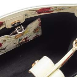 Dolce & Gabbana Off White Floral Print Leather Small Miss Sicily Tote