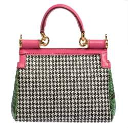 Dolce & Gabbana Multicolor Woven Straw, Leather and Python Small Miss Sicily Top Handle Bag