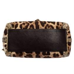 Dolce and Gabbana Brown Leopard Print Canvas and Python Miss Dolce Top Handle Bag
