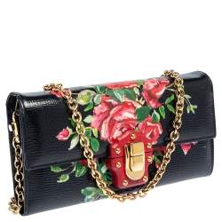 Dolce & Gabbana Multicolor Floral Print Leather Lucia Wallet on Chain