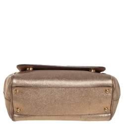 حقيبة دولتشي أند غابانا ميس سيسيلي متوسطة يد علوية جلد ذهبي