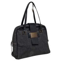 Dolce & Gabbana Black Denim and Leather Flap Satchel