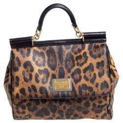 Dolce & Gabbana Black/Brown Leopard Print Coated Canvas Large Miss Sicily Top Handle Bag