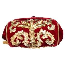 Dolce & Gabbana Red Velvet Embroidered Mini Miss Sicily Shoulder Bag