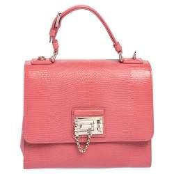Dolce & Gabbana Pink Lizard Embossed Leather Medium Miss Monica Top Handle Bag